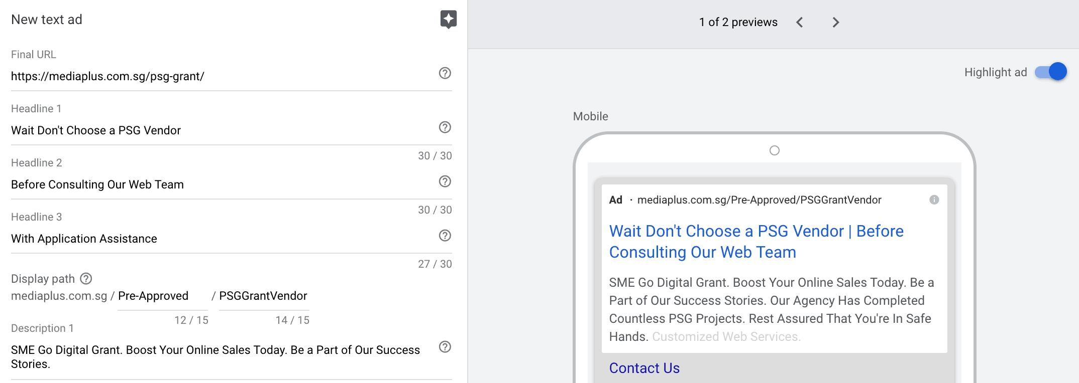 Google search ads creation