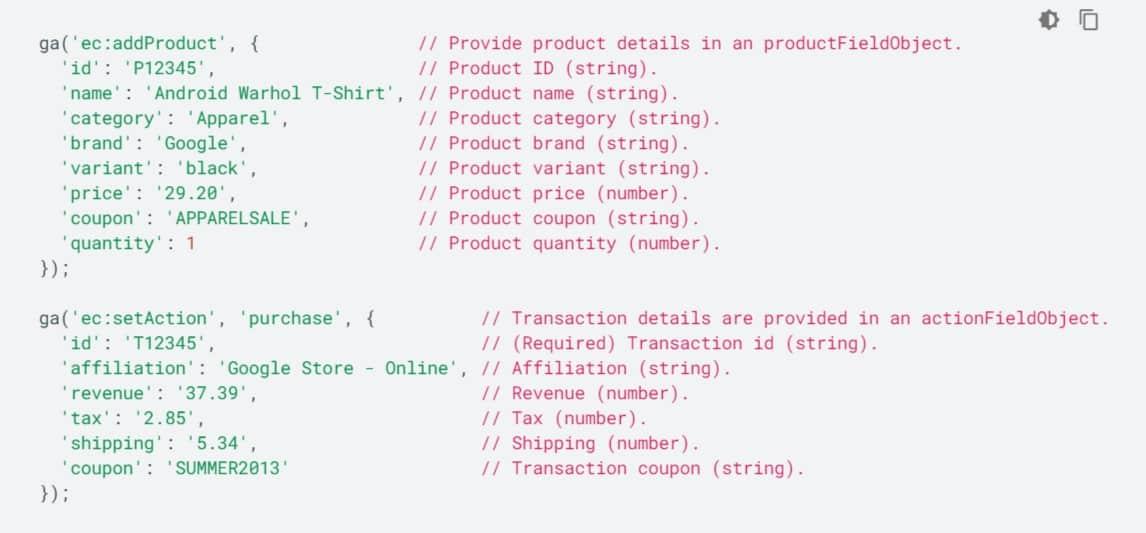 Ecommerce tracking dynamic values