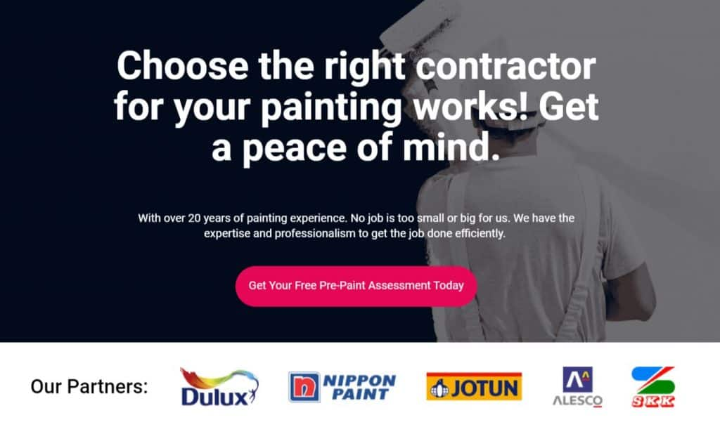 Painting landing page banner
