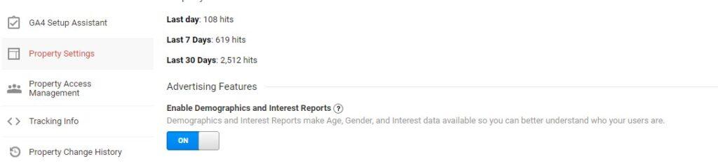 Google Analytics Enable Demographics Report
